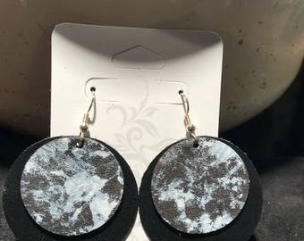 Black And White Marble Leather Earrings
