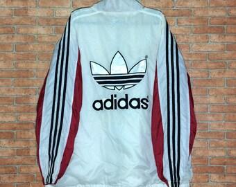Rare!!! Vintage ADIDAS Spell out big Logo Embroidered Jacket Windbreaker vtg adidas zipper sweater Nylon size M L jacket