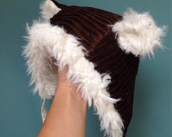 Chapeau hiver ourson velour et fausse fourrure