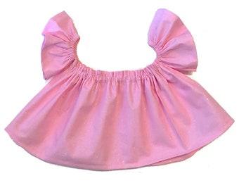 pink crop top, Solid pink top, pink top, off shoulder top, pink shirt, baby crop top, girls crop top, spring top, baby top, baby shirt