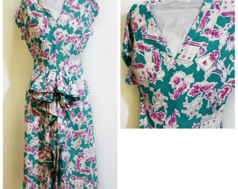 1940s Victorian Ladies Print Day Dress