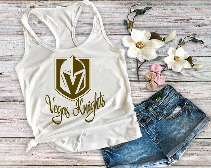 Golden Knights Tank Top-Vegas Knights Tank Top-Womans Fitness Tank Top-Hockey Tank Top-Workout Tank-Bella Canvas Flowy Tank Top-Loose Fit