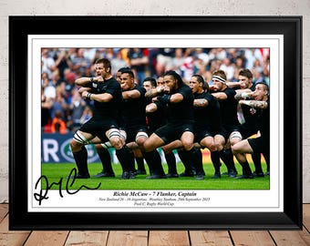Richie McCaw New Zealand All Blacks Rugby Haka - Autographed Signed Photo Print