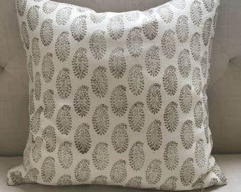 """Faded Gold Paisley on White Indian Block Print Pillow Cover, 20"""" x 20"""""""