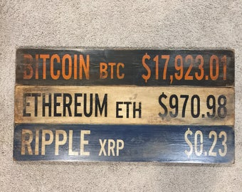 Bitcoin | Ethereum | Ripple | Cryptocurrency | Distressed Wood Handmade | Dirty Signs | Man Cave | Market Ticker