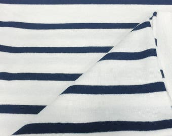 Navy and Natural Striped Modal Spandex Fabric