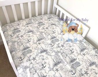 Cotton Fitted Crib Sheet Anchor Crib Sheet Ship Bedding Toddler Sea Bedding Girl Bedding  Boy Crib Sheet Changing Pad Cover