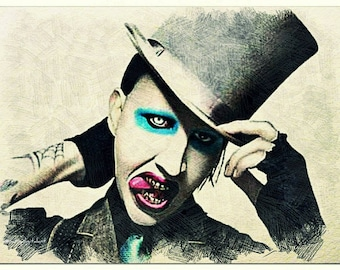 Marilyn Manson Pencil Drawing pencil colorful art print