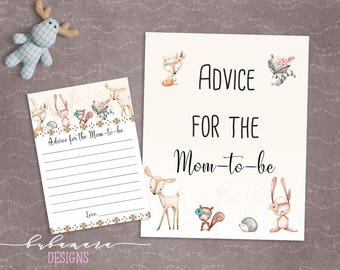 Woodland Animals Advice for Mom Baby Shower Game Cute Animals Fox Deer Squirrel Gender Neutral Printable Trivia Quiz Activity - CG007