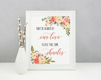 Printable Favors Wedding Sign Coral Peach Pink Please Take some Shades Digital Wedding Decor Wedding Poster Signage 5x7 8x10 A4 - WS040