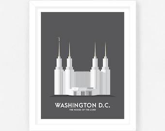 Washington DC LDS Temple Print - Grey Digital Download    Wedding Gift    Anniversary Gift    Christmas Gift