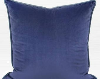 "Luxury Midnight Blue Solid Color Flannel Fabric Pillow 20""X20"""