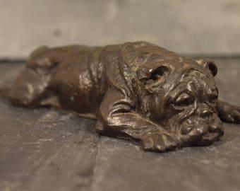 Bronze plated resin english bulldog ornament