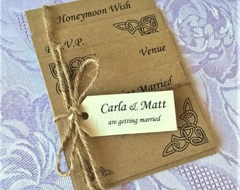 Hand Crafted Personalised 'Carla' Wedding Invitation Celtic Rustic Kraft