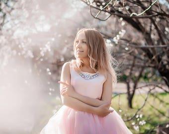Bridesmaid skirt Ball Wedding Tulle  Ivory White Pink Blush Mint Tulle Skirt Bridal Women Tulle Skirt Sun flare Skirt Wedding Floor Skirt