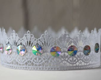 White Lace Crown Queen Lace Crown Cosplay Crown Adult Crown Princess Crown Tiara Birthday Crown Adult Photo Props Toddler Fairytale Gift