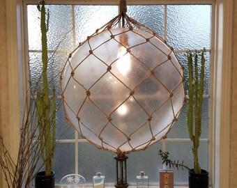 Large Nautical Light Pendant, Hanging Lamp, Tiki, Fishermans Float, Rope Lamp, Beach Decor, Nautical Home Decor, Fishnet, Sea, Sailing