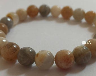 Faceted Moonstone bracelet, stone of femininity, pearls just 8 mm
