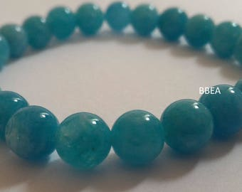 Aquamarine bracelet, chan, 8mm beads