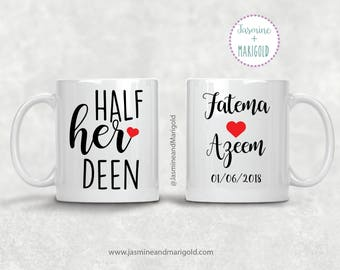 Half his Deen Half Her Deen - Personalized Gift for Newlyweds | Coffee Cup | Wedding Gift Muslim Couple | wedding shower gift | muslim bride
