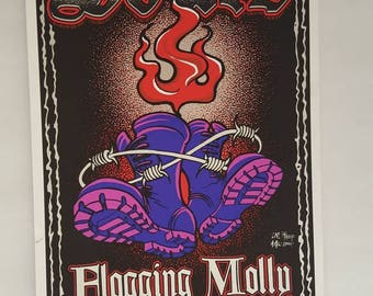 Flogging molly bouncing skulls jeff wood+johnny thief concert poster