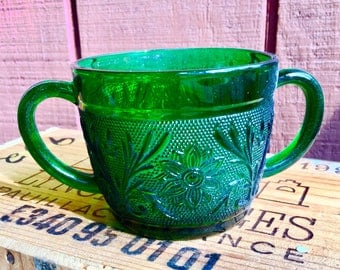 Vintage Anchor Hocking Forest Green Sandwich Glass Sugar Bowl