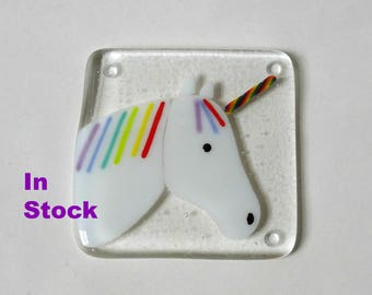Unicorn Coaster Fused Glass Coaster Fused Glass Unicorn Gift For Her Stained