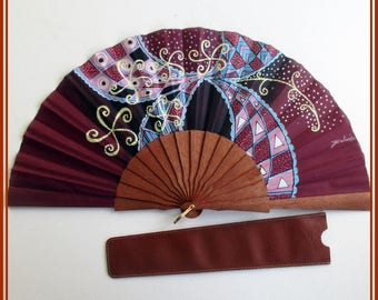 Burgundy hand fan with leather cover, designer hand painted fan, spanish fan, gift for Christmas, wood folding hand fan, fan collector piece