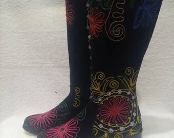 Suzani boots..Hand made colorfull...Every size and calf size is possible...