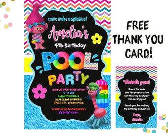 Pool Party Invitation, Trolls Invitation, Trolls Birthday Invitation, Girls Birthday Invitation