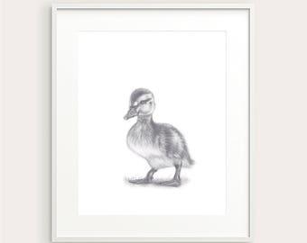 Duckling. Nursery/Kid's Wall Decor.Wall Art. Art Print.Kid's Room Print.Nursery Art. Nursery Art. Baby's Room Print. Baby Duck.