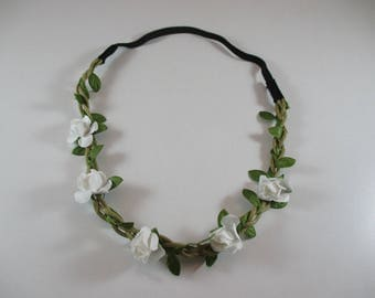 Floral headband, wedding, white and green.