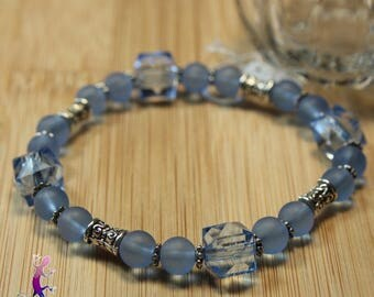 Acrylic, frosted blue glass beads and antique metal ethnic Beads Bracelet