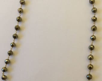6 mm round pyrite  beads sterling silver vermeil necklace