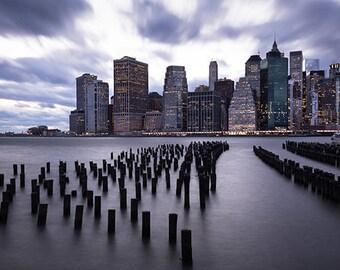 "New York City, NYC Photography, Manhattan Skyline, Storm, Water Scene, Urban, Large Wall Print, Fine Art - ""Approaching Storm"""