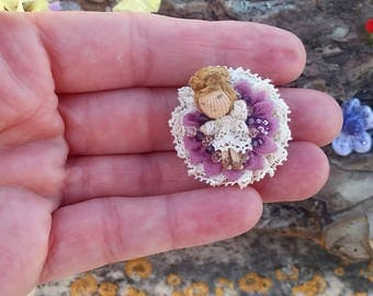 Cute mini doll brooch, one inch doll pin, one inch doll brooch, lace doll brooch, doll pin for baptism, doll brooch for first holy communion