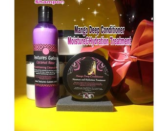 Duo: Coconut Rose Conditioning Cleanser  & Mango Deep conditioner. Moisture and Hydration treatment (sulfate free)