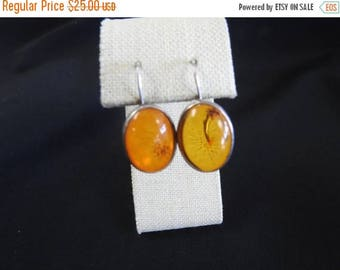 ON SALE stunning vintage sterling silver and amber earrings