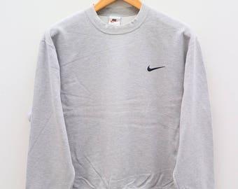 Vintage NIKE Small Logo Sportswear Gray Pullover Sweater Sweatshirt Size L
