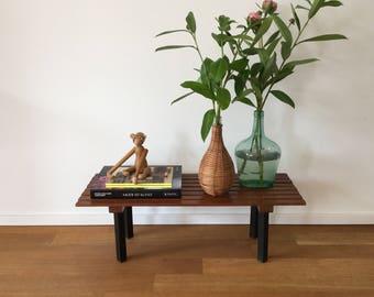 Mid century 50's floral bench teak