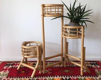 70s rattan bamboo flower stand