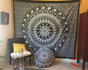 Mandala Tapestry /black and white /elephants Print