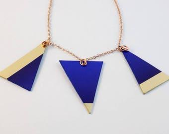 Copper Chain Necklace Blue Golden Triangles Pendants