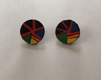 80s leather clip on earrings || geometric print multicolored black leather circle earrings