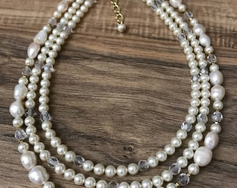 Wedding Necklace, Pearl necklace, freshwater pearls, triple strand necklace, Waterfall Pearls W1