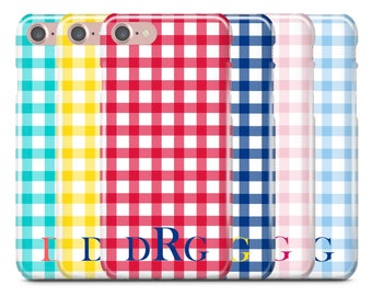 Personalized iPhone Case, iPhone 7 Case, iPhone 7 Plus Case, iPhone 6S Case, iPhone 6, Monogram Case, Galaxy S8 Case, Gingham Initial Name