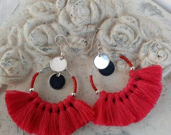 Small hoop earrings very fashion, Red Raspberry PomPoms, sequins, seed beads and metal