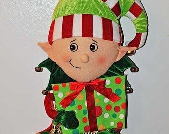 "Vintage Plush Christmas Elf Stocking / Christmas Elf / Hanging Christmas Elf Stocking / Velour Felt Christmas Elf Stocking / 22"" Stocking"