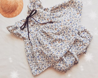 "Baby/toddler blue tunic with ruffle and ""Walk"" bloomer set"