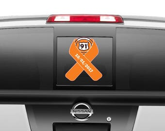 Route 91 Orange with Date Ribbon Decal different sizes